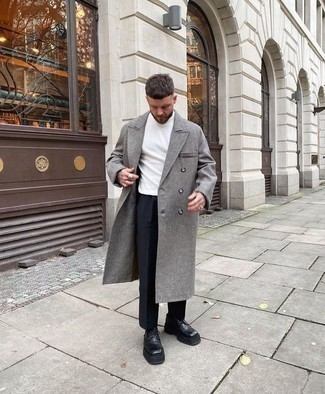 White Turtleneck Outfits For Men: Without any doubt, you'll look nice and classic in a white turtleneck and navy dress pants. We're totally digging how this whole look comes together thanks to a pair of black chunky leather derby shoes.