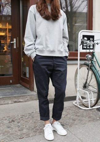 How to wear: grey oversized sweater, black chinos, white leather low top sneakers