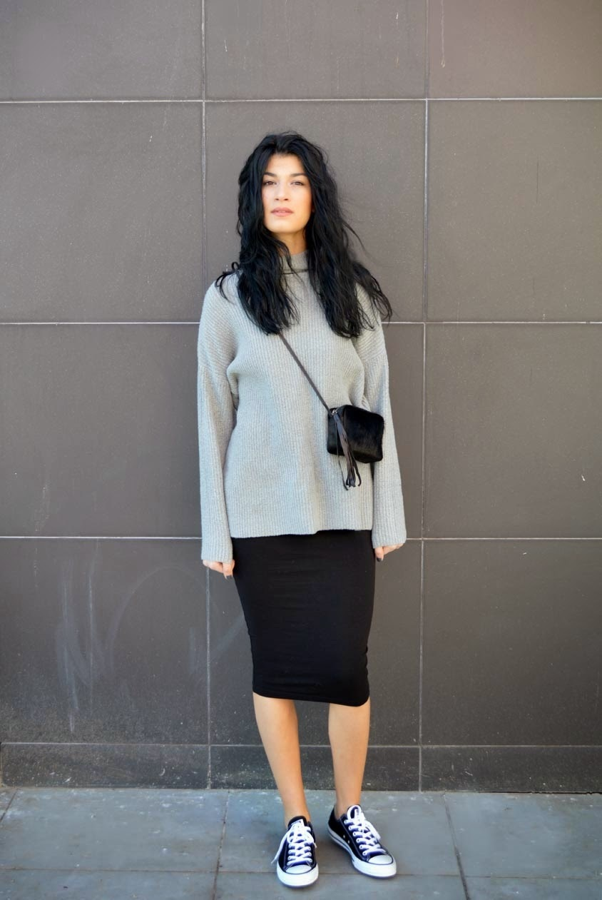 Women's Grey Knit Oversized Sweater, Black Midi Skirt, Black and ...