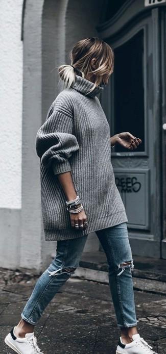 20ca9447a9eb4e ... Women s Grey Knit Oversized Sweater