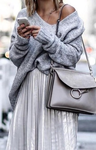 How to wear: grey oversized sweater, silver pleated midi skirt, grey leather crossbody bag