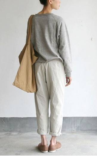 How to wear: grey oversized sweater, white pajama pants, brown suede loafers, tan canvas tote bag