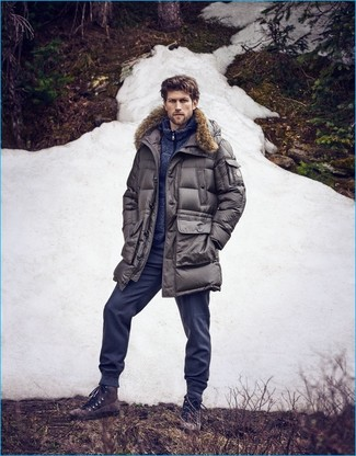 How to wear: grey parka, navy zip sweater, navy sweatpants, dark brown suede casual boots
