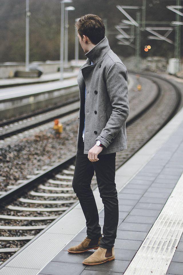 Mens Grey Pea Coat, Black Jeans, Tan Suede Chelsea Boots