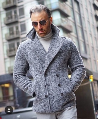 How to wear: grey pea coat, grey turtleneck, grey dress pants, black sunglasses