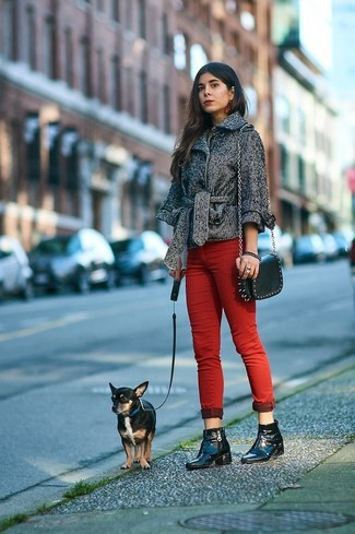 How to wear: grey herringbone pea coat, red skinny jeans, black leather ankle boots, black studded leather crossbody bag