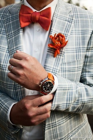 Red Polka Dot Bow-tie Outfits For Men: A grey plaid blazer and a red polka dot bow-tie make for the ultimate laid-back style for today's man.