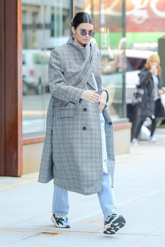 How to Wear a Grey Plaid Coat In a Relaxed Way For Women: For To create a casual look with a modern twist, wear a grey plaid coat with light blue ripped jeans. Balance out this look with more casual footwear, such as this pair of multi colored athletic shoes.
