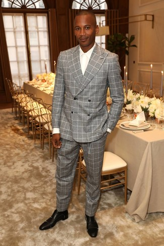 How to wear: grey plaid suit, white dress shirt, black studded leather oxford shoes
