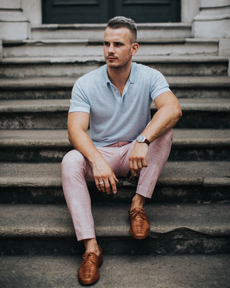 How to wear: grey polo, pink dress pants, brown leather derby shoes, dark brown leather watch