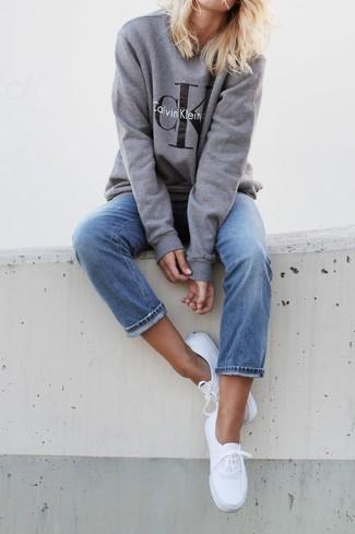Women's Grey Print Oversized Sweater, Blue Boyfriend Jeans, White Plimsolls