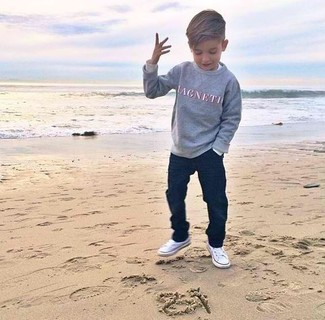 Boys' Grey Print Sweater, Navy Jeans, White Sneakers