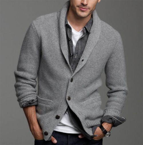 Men's Grey Shawl Cardigan, Black Denim Shirt, White Crew-neck T ...