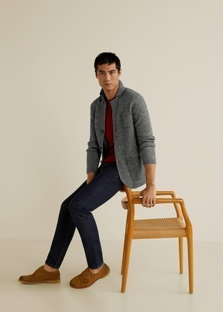 Burgundy Crew-neck T-shirt Outfits For Men: A burgundy crew-neck t-shirt and navy jeans are essential in any guy's great casual sartorial collection. For a more elegant spin, complement this outfit with a pair of brown suede double monks.