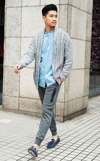 How to Wear Sweatpants For Men: A grey shawl cardigan and sweatpants are a pairing that every modern man should have in his casual repertoire. Navy suede driving shoes will tie your full getup together.