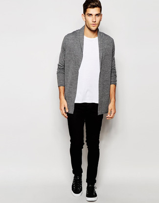 How to wear: grey shawl cardigan, white crew-neck t-shirt, black skinny jeans, black leather high top sneakers