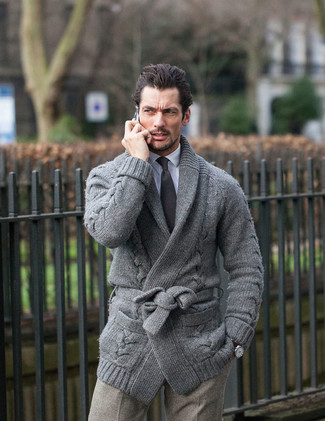 How to wear: grey shawl cardigan, white dress shirt, grey check wool dress pants, black tie