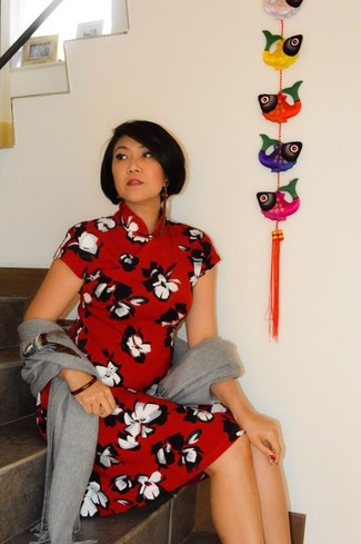 Women's Grey Shawl, Red Floral Midi Dress, Red Bracelet
