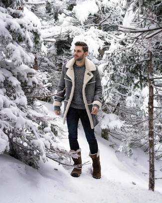 How to wear: grey shearling coat, grey crew-neck sweater, navy skinny jeans, olive snow boots