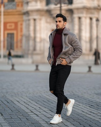 Burgundy Turtleneck Outfits For Men: A burgundy turtleneck and black ripped jeans are a good combo worth having in your daily off-duty arsenal. Hesitant about how to finish this outfit? Wear a pair of white leather low top sneakers to bump up the wow factor.