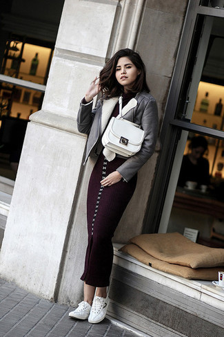 How to wear: grey shearling jacket, dark purple knit bodycon dress, white low top sneakers, white leather satchel bag