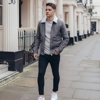 Shearling Jacket Outfits For Men: This combo of a shearling jacket and navy skinny jeans is a good outfit for when it's time to go casual. For something more on the daring side to complete this getup, introduce a pair of white athletic shoes to the equation.