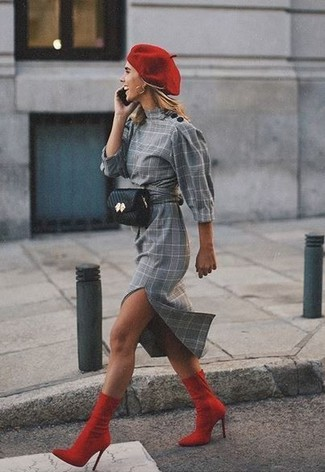How to wear: grey plaid sheath dress, red elastic ankle boots, black leather fanny pack, red beret