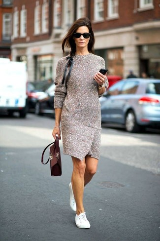 Dress in a grey knit sheath dress to ooze class and sophistication. A good pair of white low top sneakers are sure to leave the kind of impression you want to give.