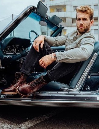 Charcoal Jeans Outfits For Men: For a laid-back getup, choose a grey shirt jacket and charcoal jeans — these items play perfectly well together. Burgundy leather casual boots tie the ensemble together.