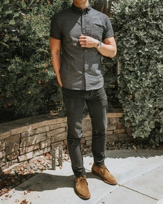 Charcoal Jeans Outfits For Men: This combination of a grey polka dot short sleeve shirt and charcoal jeans is extremely easy to pull together and so comfortable to wear as well! If you want to easily polish up this outfit with one single piece, finish off with tan suede desert boots.