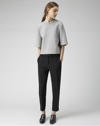 How to wear: grey short sleeve sweater, black dress pants, black leather double monks