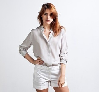 6b9bd26b4599d ... Women s Grey Silk Button Down Blouse