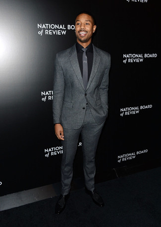 Michael B. Jordan wearing Grey Wool Suit, Black Dress Shirt, Black ...
