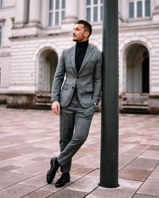 How to wear: grey wool suit, black turtleneck, black leather derby shoes, black socks