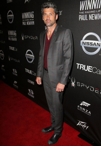 Patrick Dempsey wearing Grey Check Suit, Burgundy V-neck Sweater, Black Leather Chelsea Boots, Black Leather Belt