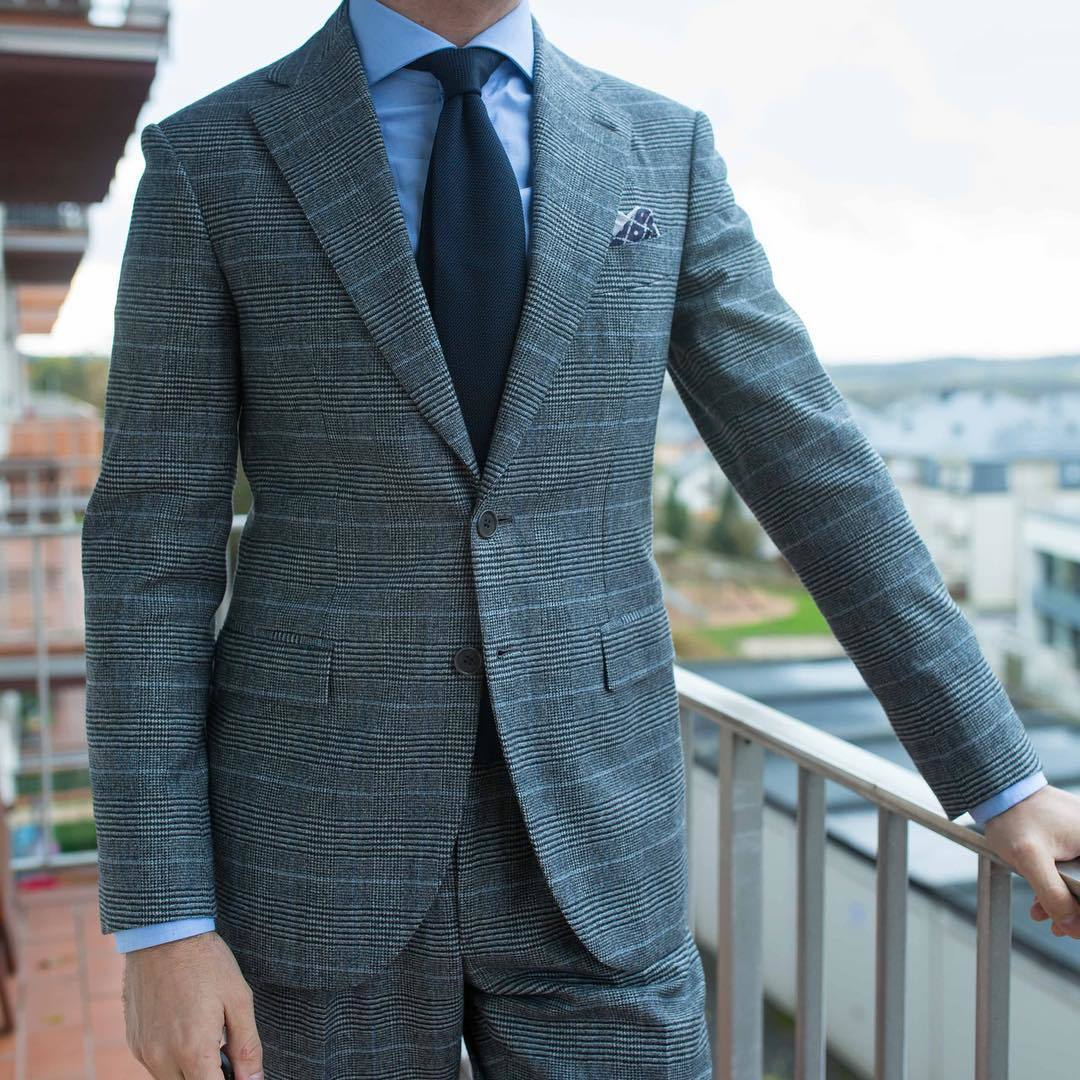 Grey Suit Light Blue Tie - Go Suits