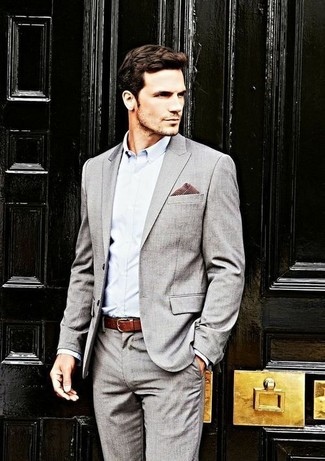 Men's Grey Suit, Light Blue Dress Shirt, Burgundy Gingham Pocket ...