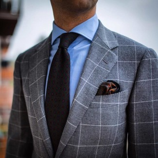 How to wear: grey check suit, light blue dress shirt, charcoal print tie, dark green print pocket square