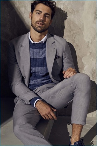 Marry a Paul Smith men's Ps By Fine Striped Knitted Jumper with a grey suit to ooze class and sophistication. For footwear go down the casual route with navy leather low top sneakers. Naturally, a look like this will keep you warm and stylish all season long.