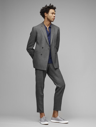 How to wear: grey suit, navy polo, grey canvas low top sneakers