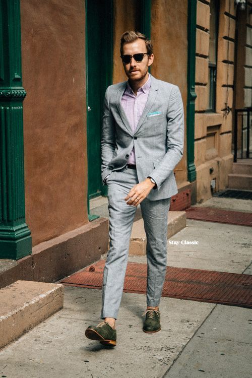 Men's Grey Suit, Pink Long Sleeve Shirt, Dark Green Leather Oxford ...