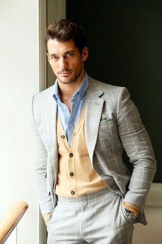 David Gandy wearing Grey Check Suit, Tan Cardigan, Light Blue Dress Shirt, Dark Brown Leather Watch
