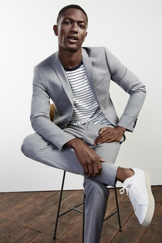 Men's Grey Suit, White and Black Horizontal Striped Crew-neck T-shirt, White Leather Low Top Sneakers