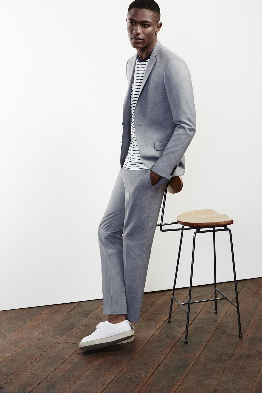 Men\'s Grey Suit, White and Black Horizontal Striped Crew-neck T ...