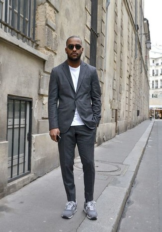 Men's Grey Suit, White Crew-neck T-shirt, Grey Suede Athletic Shoes, Black Sunglasses
