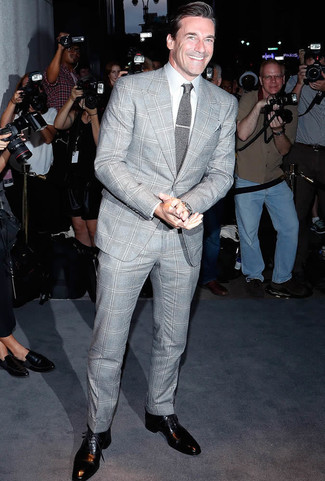 Jon Hamm Wearing Grey Plaid Suit White Dress Shirt Black Leather