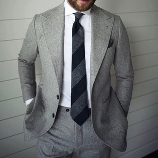 Men's Grey Suit, White Dress Shirt, Black Vertical Striped Tie, Black Pocket Square