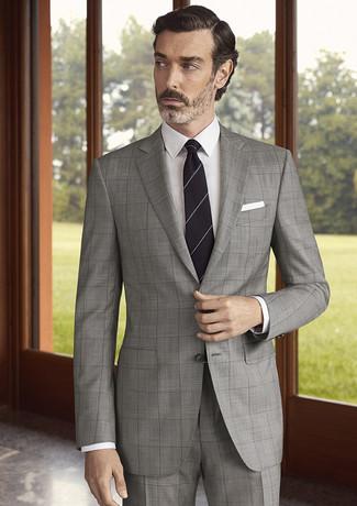 How to wear: grey check suit, white dress shirt, black horizontal striped tie, white pocket square