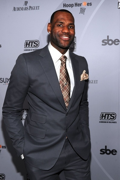 Lebron James wearing Grey Suit, White Dress Shirt, Brown Plaid Tie