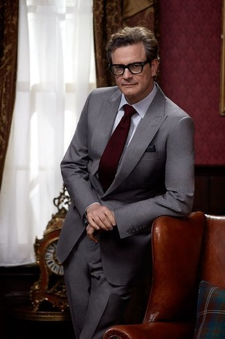 Colin Firth wearing Grey Suit, White Dress Shirt, Burgundy Tie ...